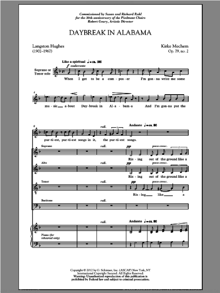 Daybreak In Alabama sheet music for choir (SATB) by Kirke Mechem. Score Image Preview.