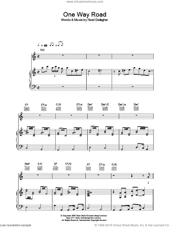 One Way Road sheet music for voice, piano or guitar by Noel Gallagher and Paul Weller. Score Image Preview.