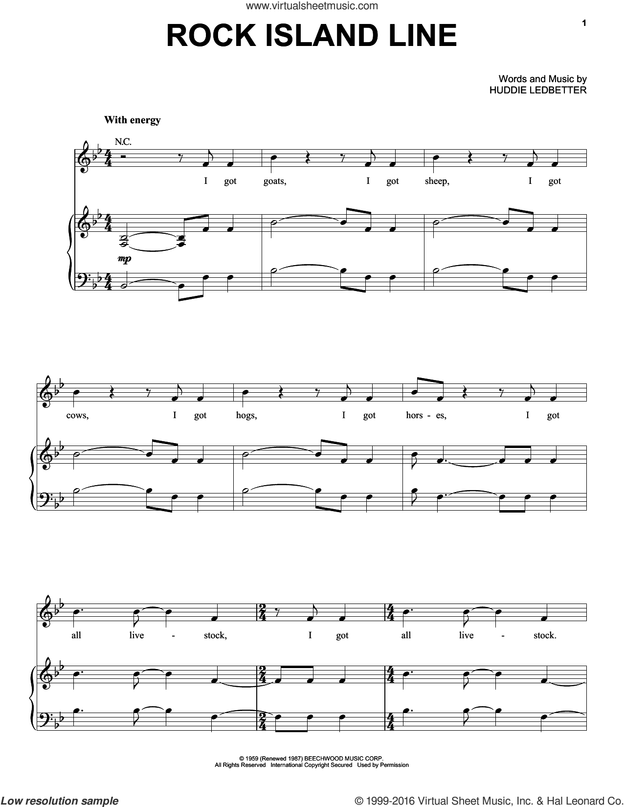 Rock Island Line sheet music for voice, piano or guitar by Huddie Ledbetter and Lead Belly, intermediate. Score Image Preview.