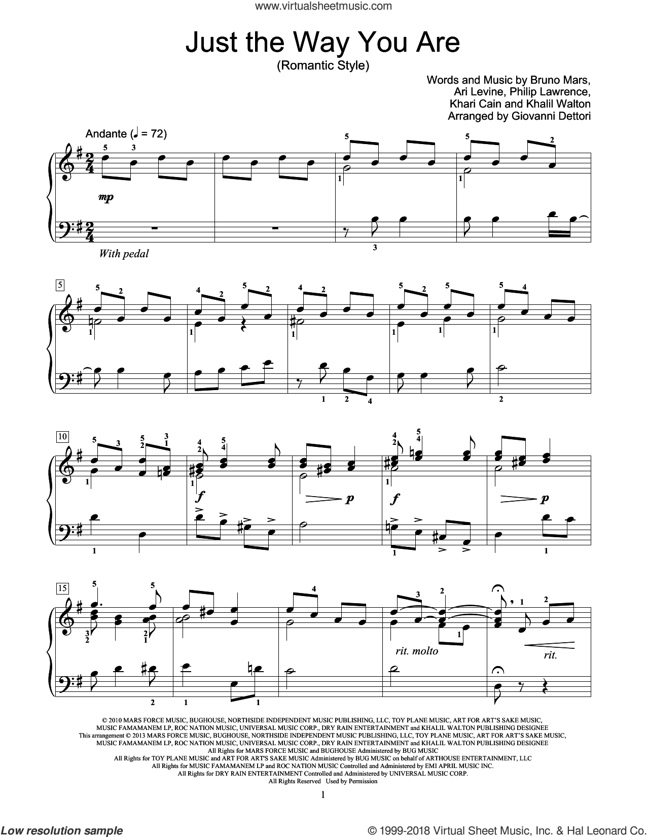 Just The Way You Are sheet music for piano solo (elementary) by Bruno Mars and Giovanni Dettori, beginner piano (elementary). Score Image Preview.