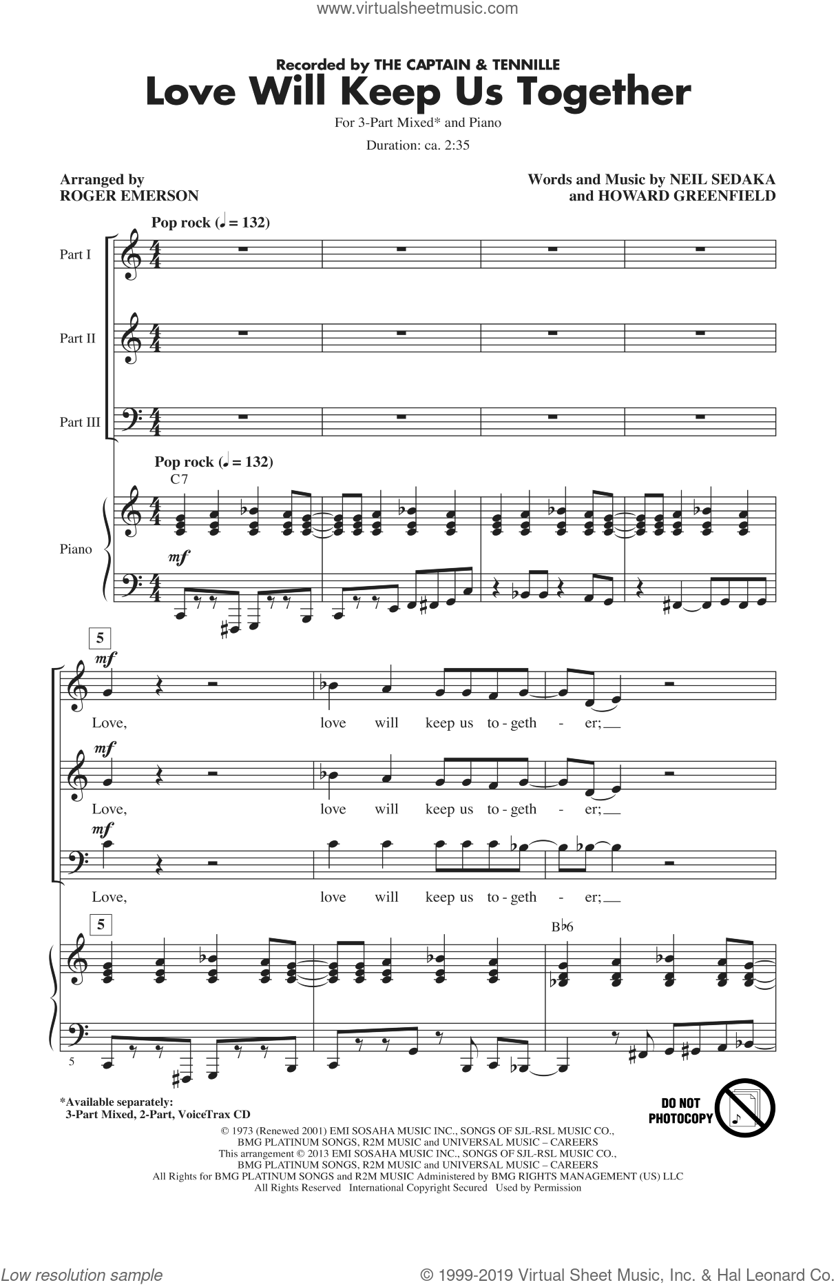 Emerson   Love Will Keep Us Together sheet music for choir 15 Part Mixed
