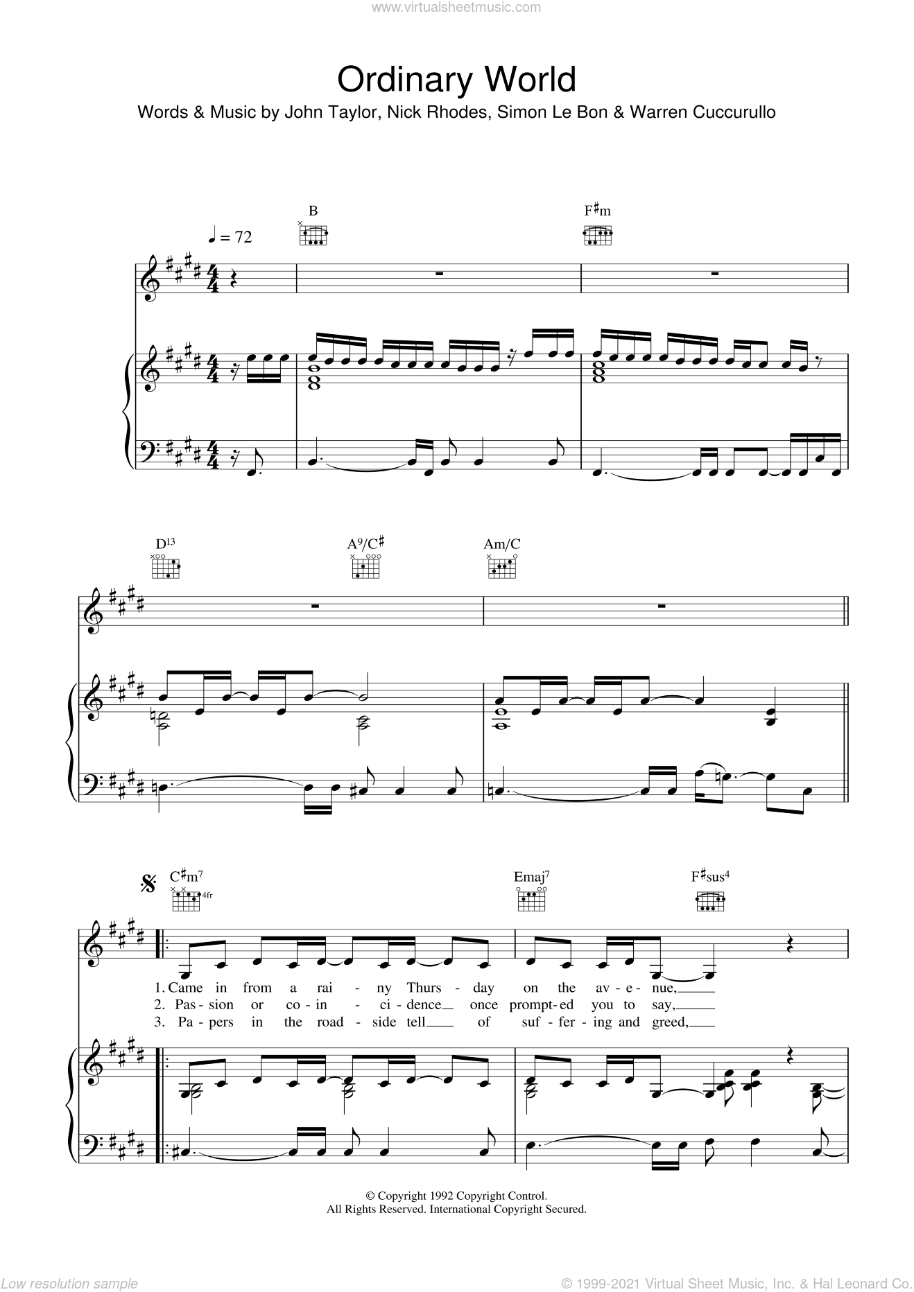 Ordinary World sheet music for voice, piano or guitar by Duran Duran, John Taylor, Nick Rhodes, Simon LeBon and Warren Cuccurullo, intermediate skill level