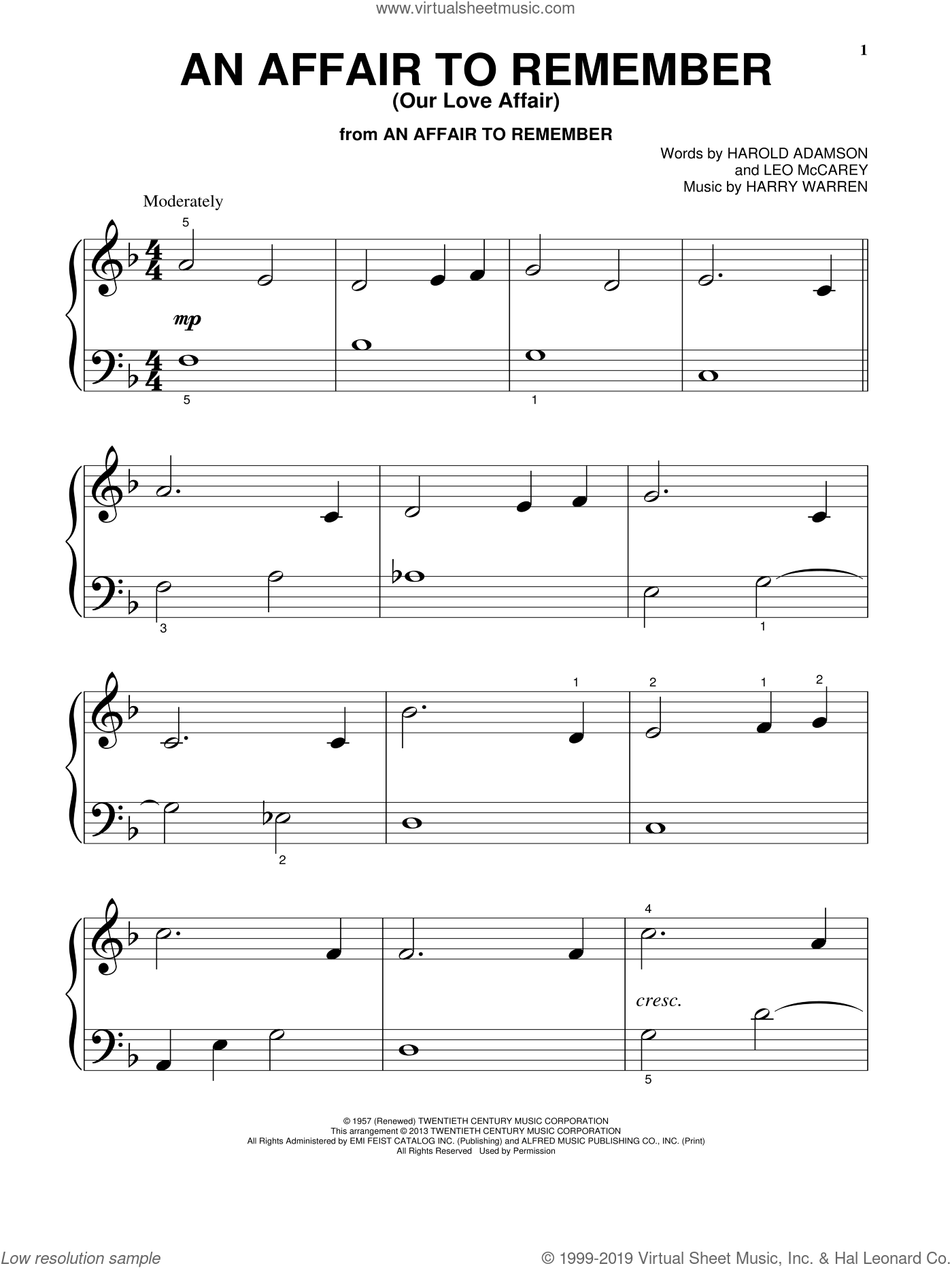 An Affair To Remember (Our Love Affair) sheet music for piano solo (big note book) by Leo McCarey