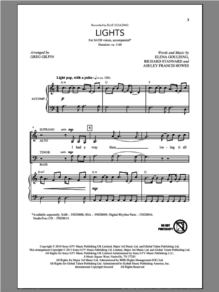 Lights sheet music for choir (SATB) by Greg Gilpin and Ellie Goulding. Score Image Preview.