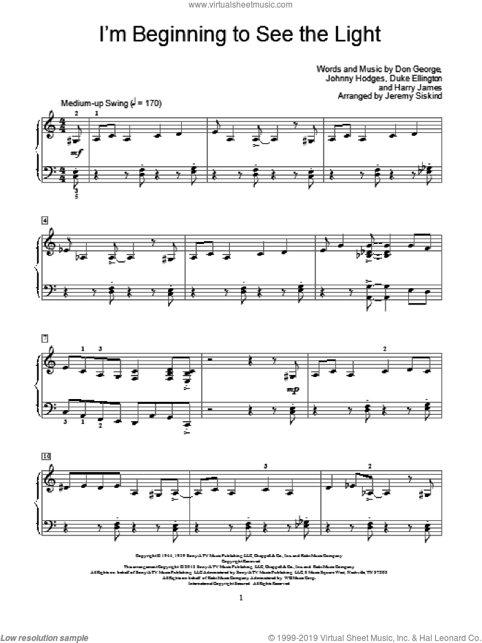 I'm Beginning To See The Light sheet music for piano solo (elementary) by Jeremy Siskind, beginner piano (elementary)