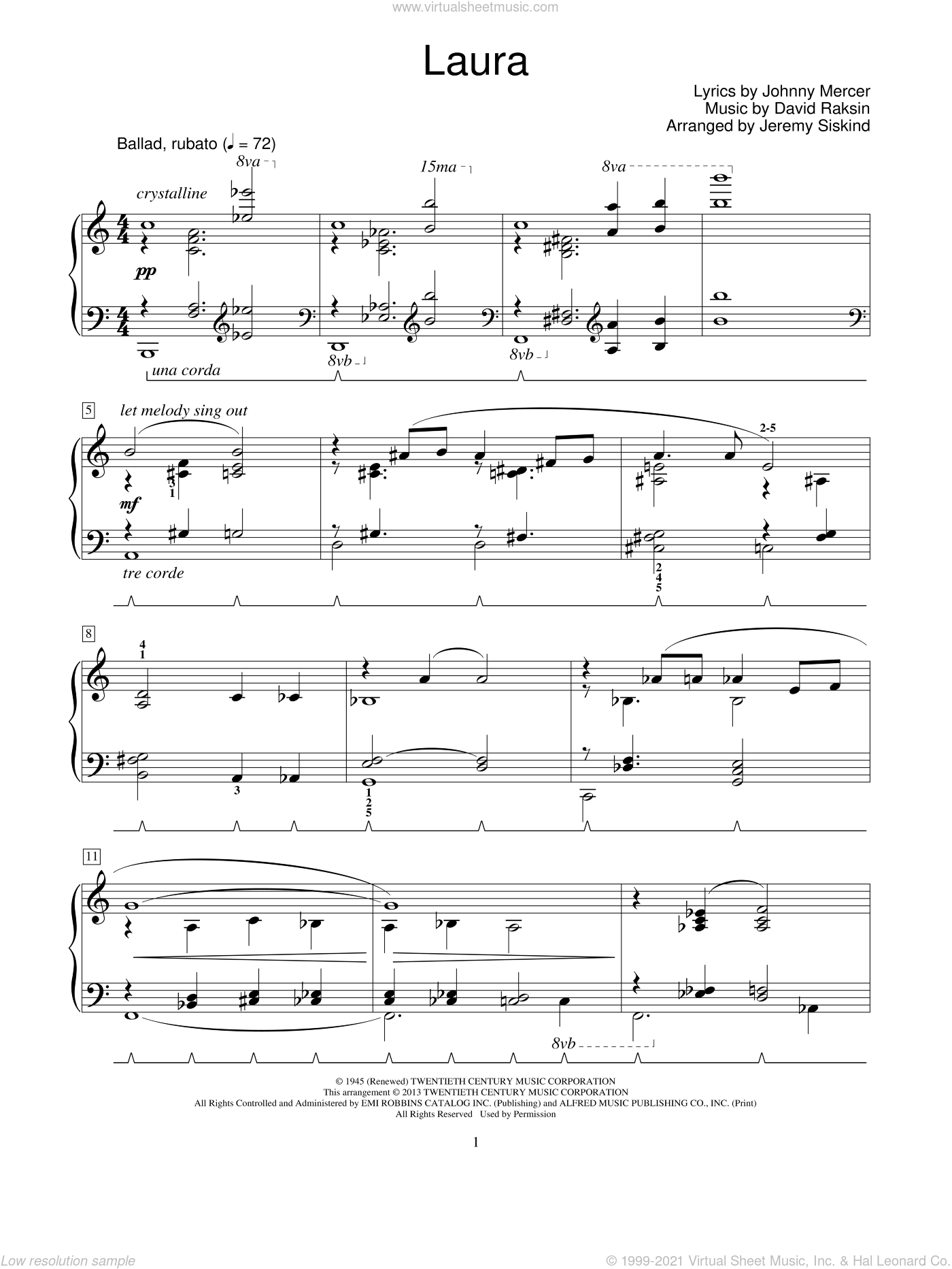 Laura sheet music for piano solo (elementary) by David Raksin