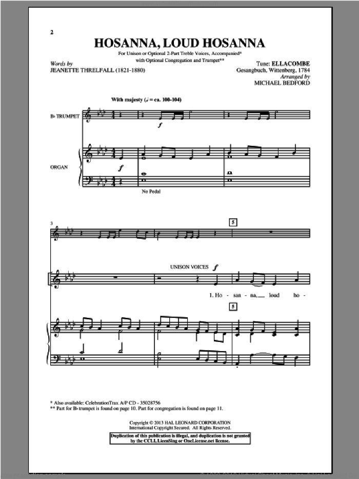 Hosanna, Loud Hosanna sheet music for choir and piano by Michael Bedford