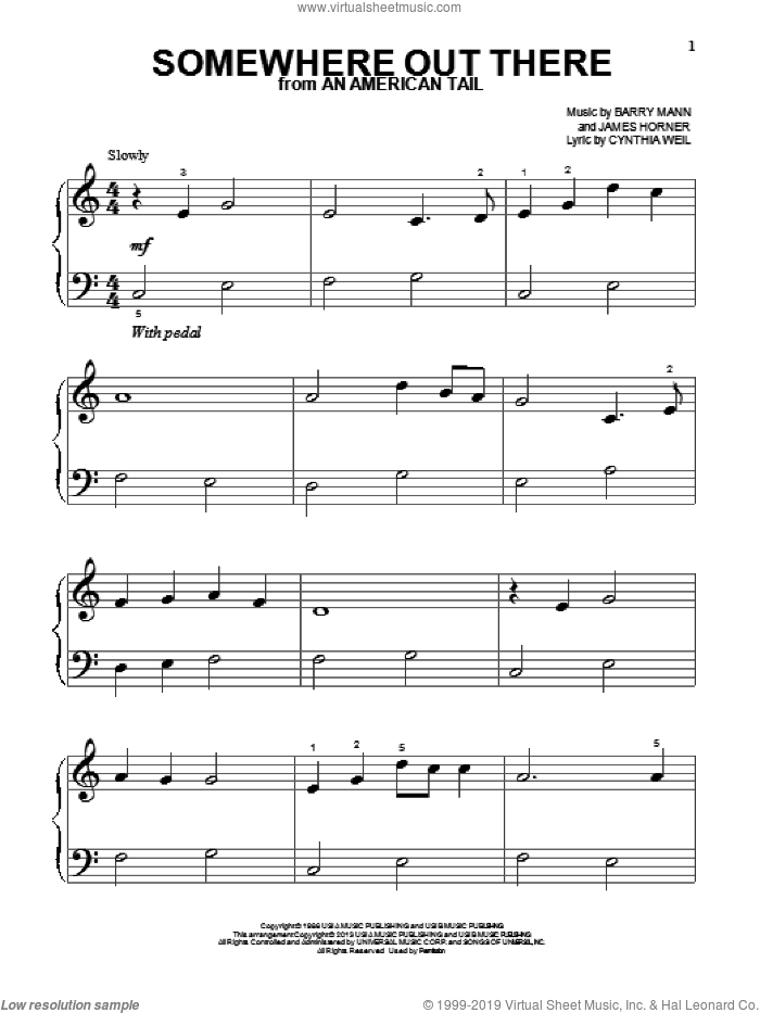 Somewhere Out There sheet music for piano solo (big note book) by James Horner