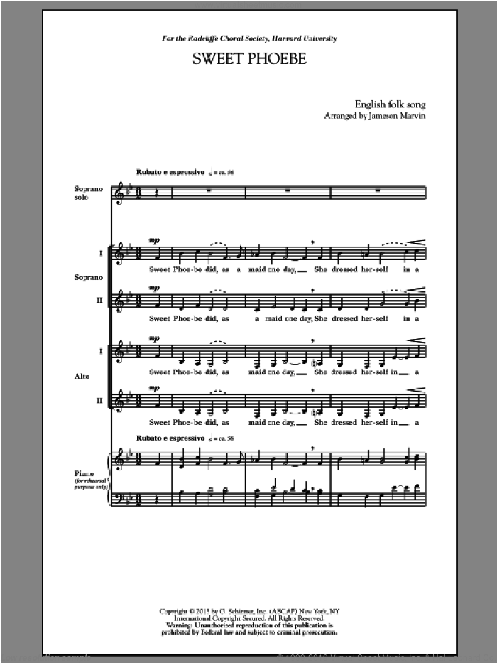 Sweet Phoebe sheet music for choir and piano (SSA) by Jameson Marvin. Score Image Preview.