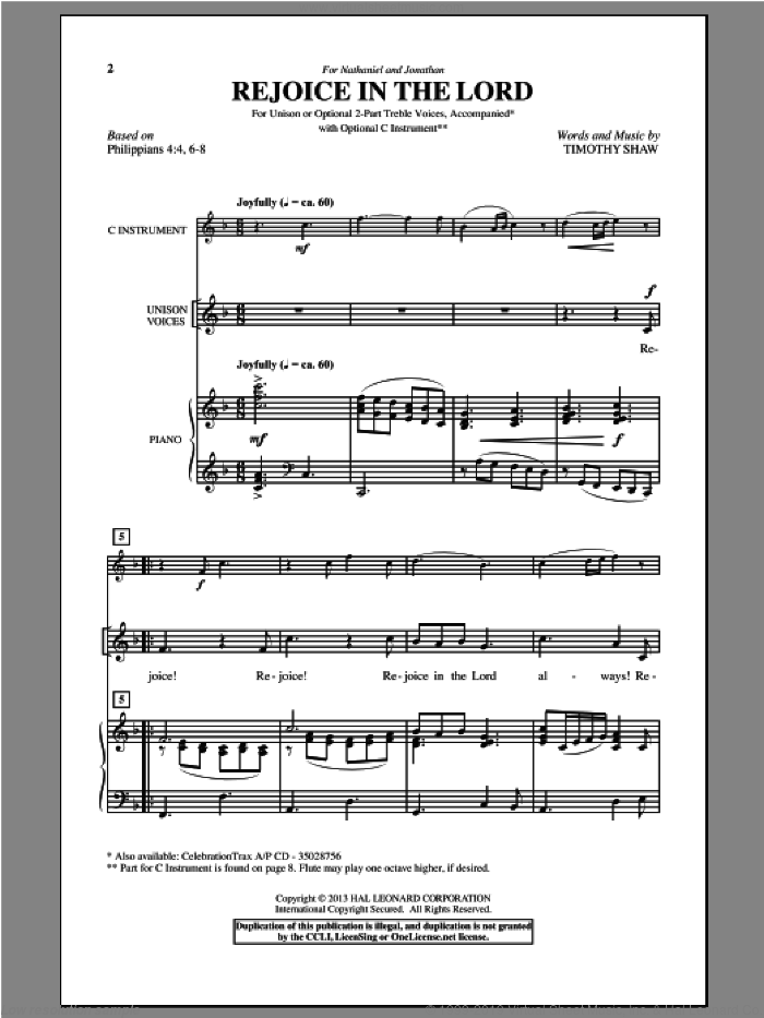 Rejoice In The Lord sheet music for choir and piano by Timothy Shaw