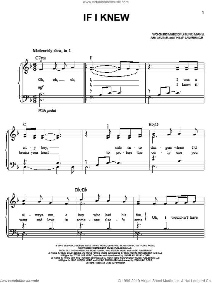 If I Knew sheet music for piano solo by Bruno Mars, easy skill level