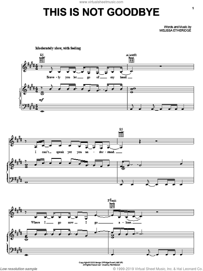 This Is Not Goodbye sheet music for voice, piano or guitar by Melissa Etheridge, intermediate. Score Image Preview.