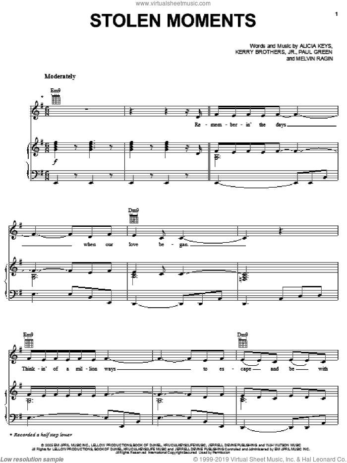 Stolen Moments sheet music for voice, piano or guitar by Alicia Keys, Kerry Brothers, Melvin Ragin and Paul Green, intermediate skill level