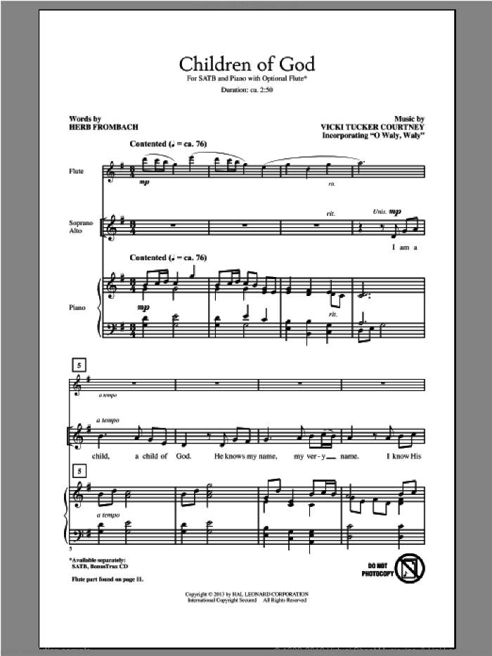 Children Of God sheet music for choir (SATB) by Herb Frombach, intermediate choir (SATB). Score Image Preview.