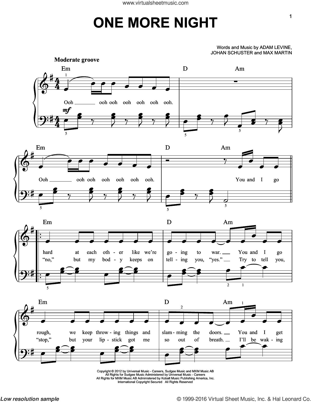 One More Night sheet music for piano solo by Maroon 5, easy skill level