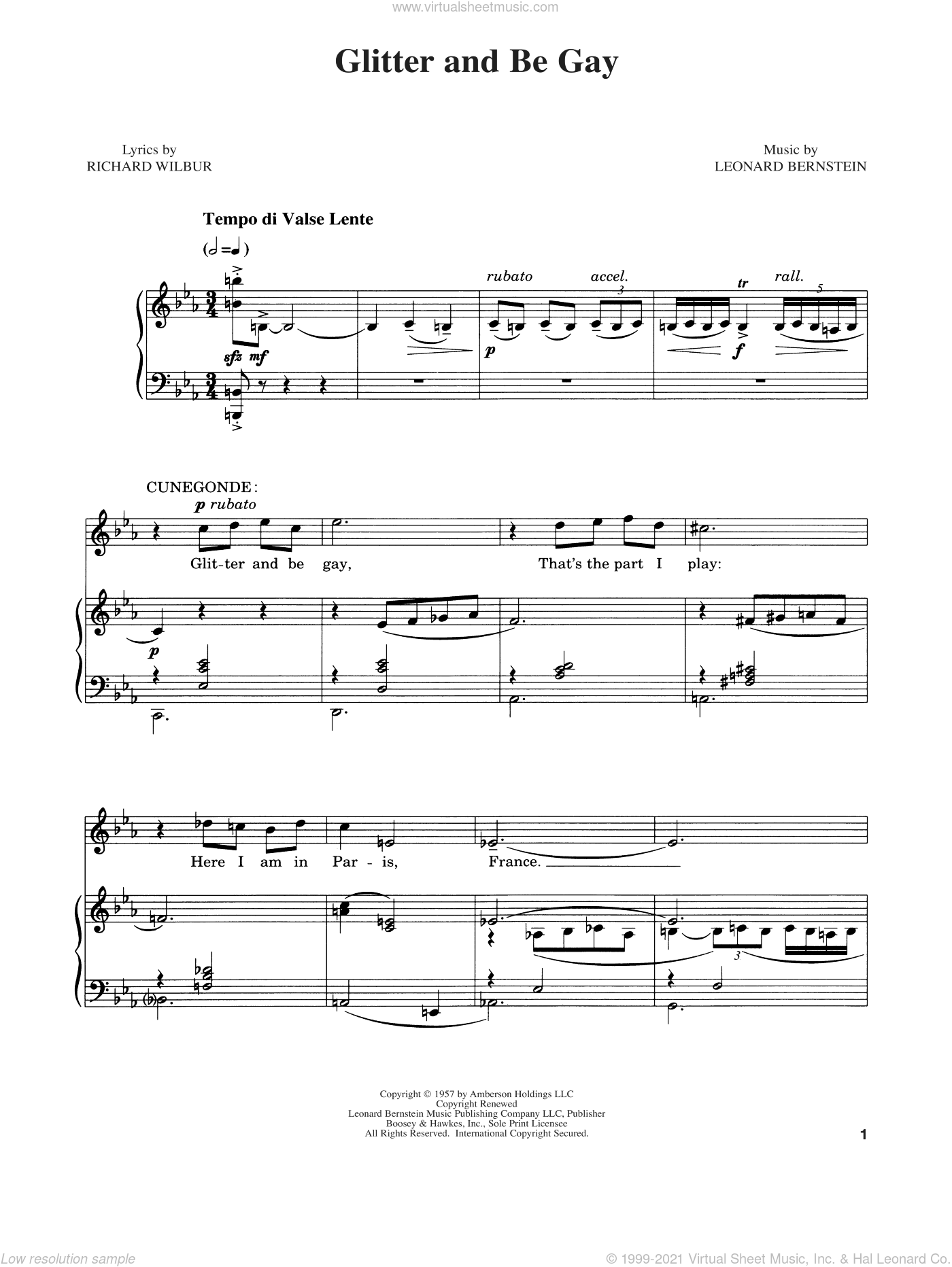 Glitter And Be Gay sheet music for voice and piano by Richard Wilbur