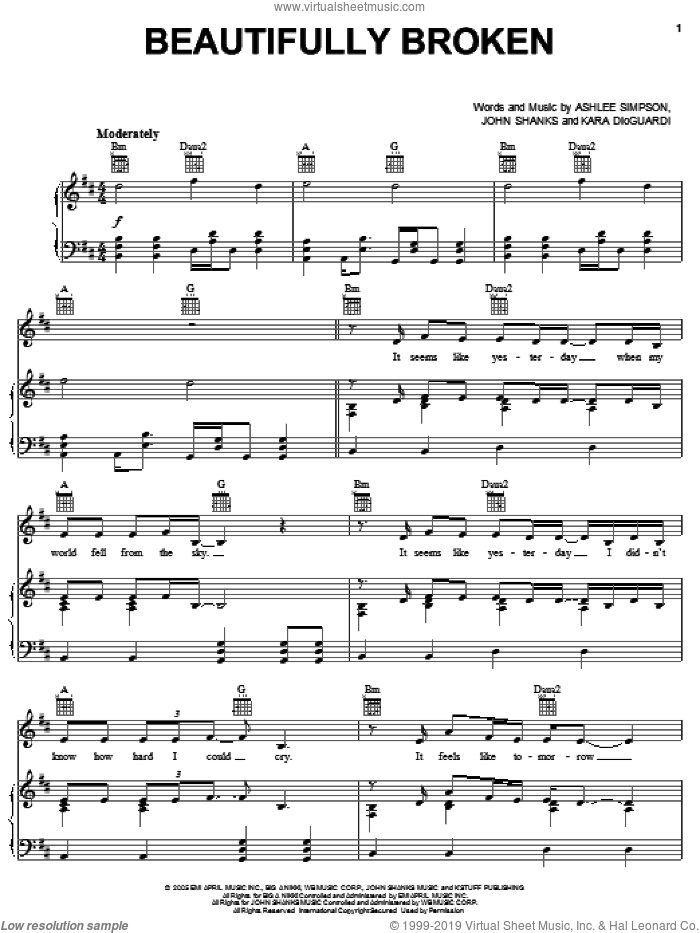 Beautifully Broken sheet music for voice, piano or guitar by Ashlee Simpson, John Shanks and Kara DioGuardi, intermediate skill level