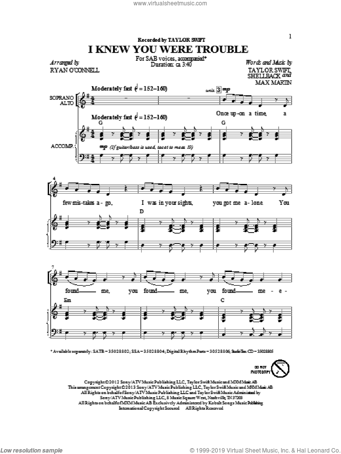 I Knew You Were Trouble. sheet music for choir (SAB) by Taylor Swift. Score Image Preview.