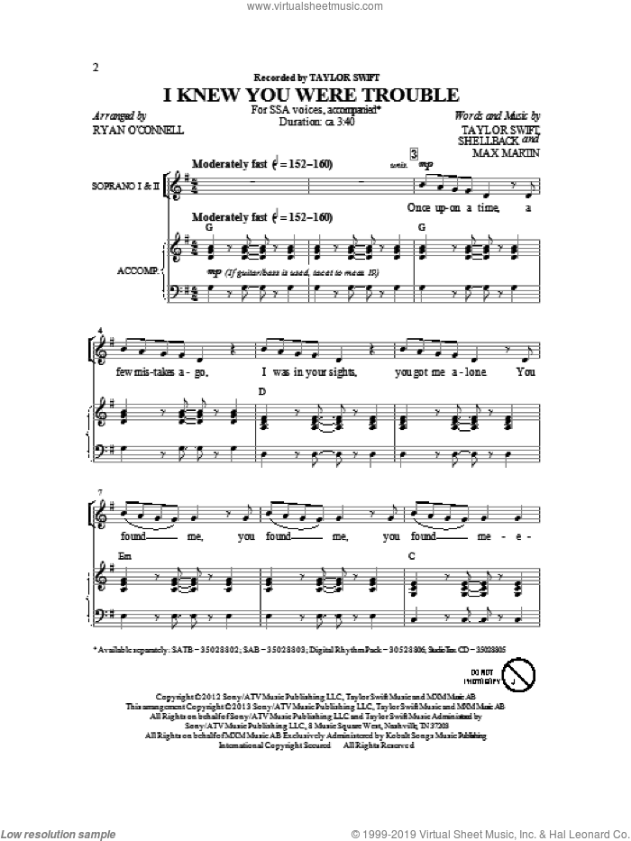 I Knew You Were Trouble sheet music for choir (soprano voice, alto voice, choir) by Taylor Swift. Score Image Preview.