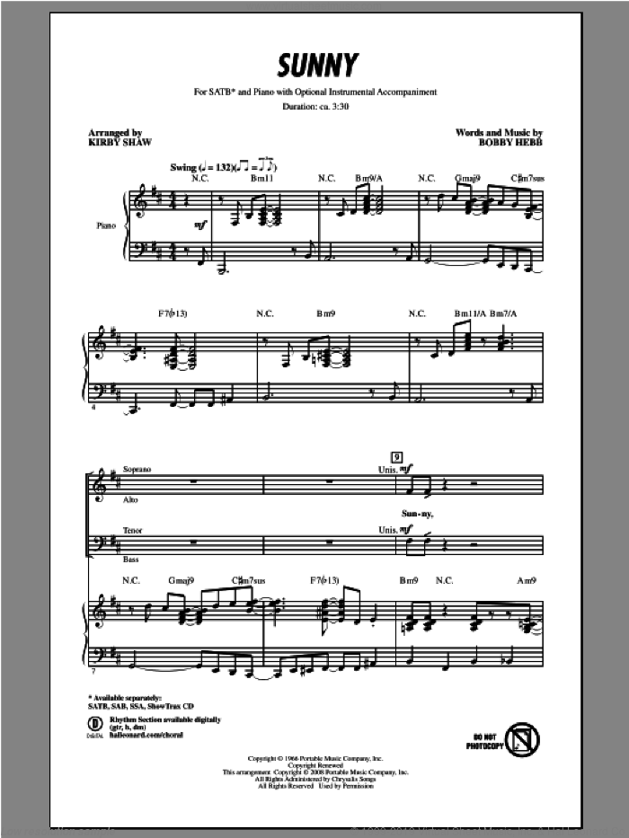 Sunny sheet music for choir and piano (SATB) by Kirby Shaw