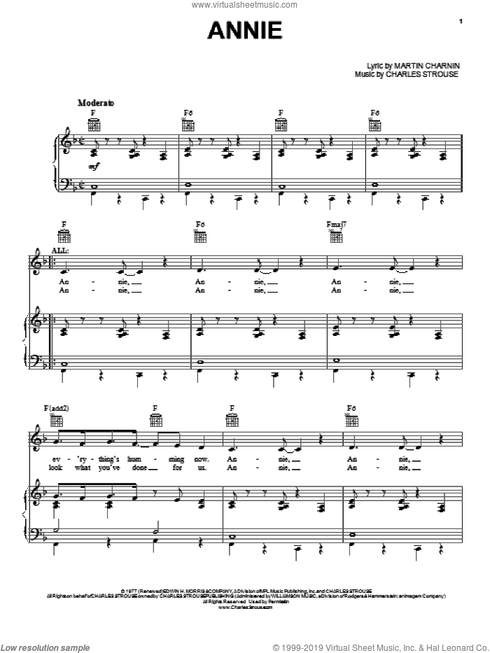Annie sheet music for voice, piano or guitar by Martin Charnin