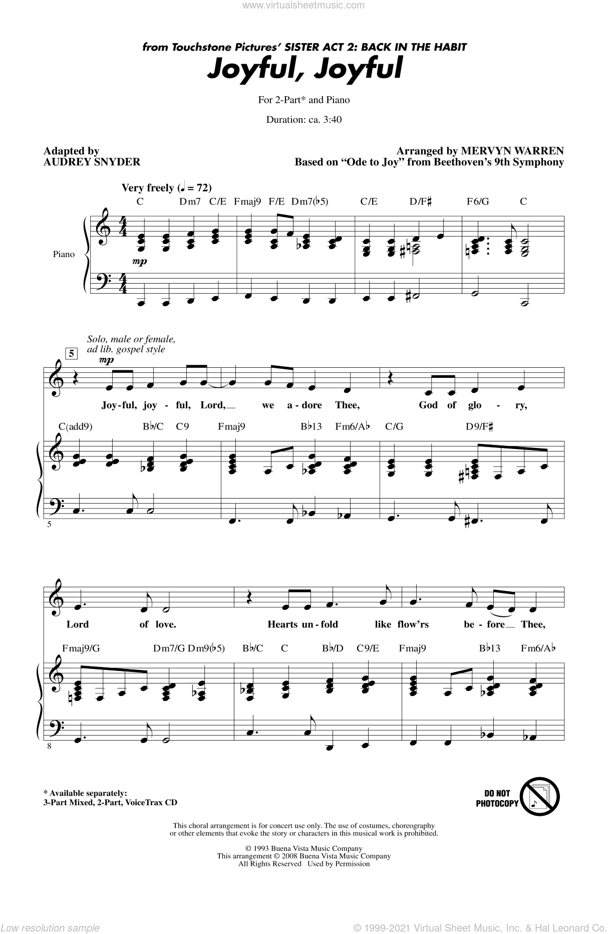Joyful, Joyful sheet music for choir and piano (duets) by Audrey Snyder
