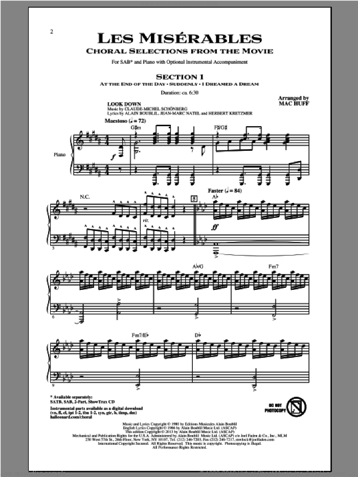 Les Miserables (Choral Selections From The Movie) sheet music for choir (SAB) by Mac Huff and Les Miserables (Movie). Score Image Preview.