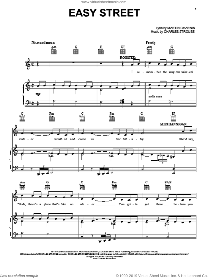 Easy Street sheet music for voice, piano or guitar by Martin Charnin and Charles Strouse. Score Image Preview.