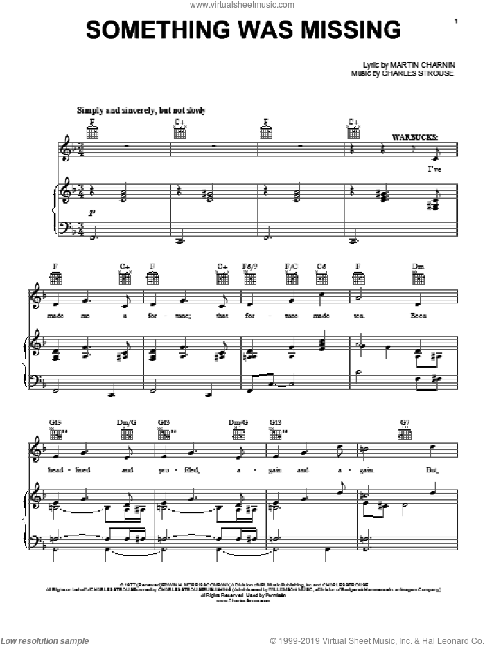 Something Was Missing sheet music for voice, piano or guitar by Charles Strouse and Martin Charnin, intermediate skill level