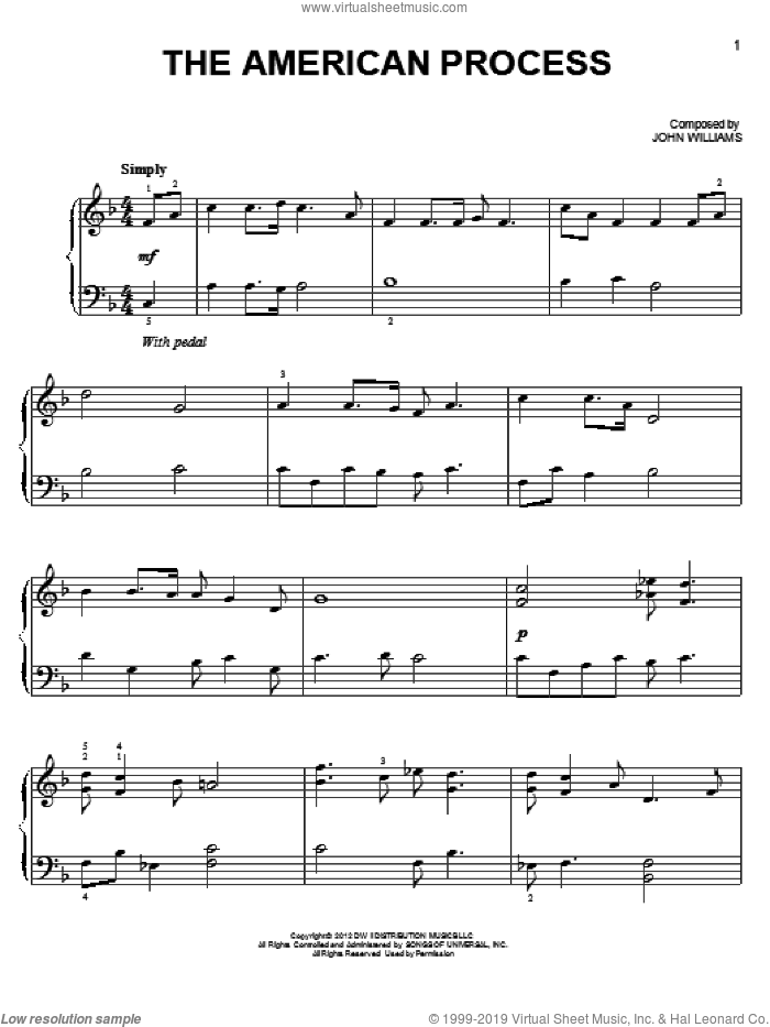 The American Process sheet music for piano solo by John Williams