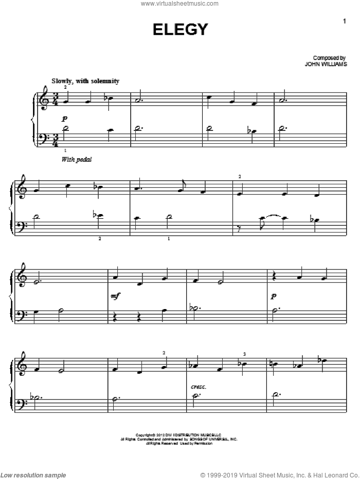Elegy sheet music for piano solo by John Williams. Score Image Preview.
