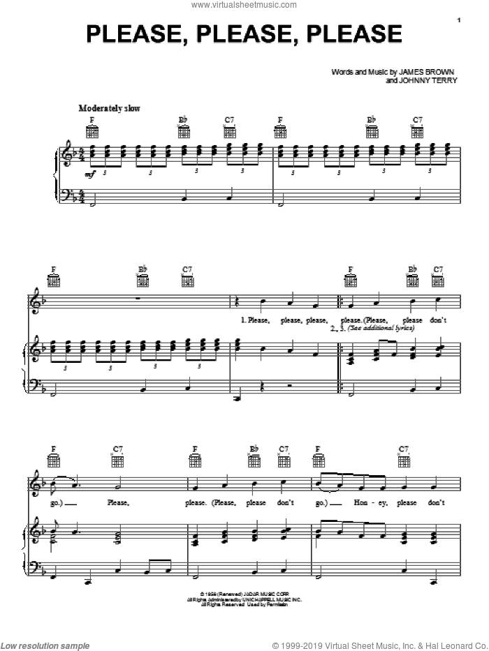 Please, Please, Please sheet music for voice, piano or guitar by James Brown, intermediate skill level