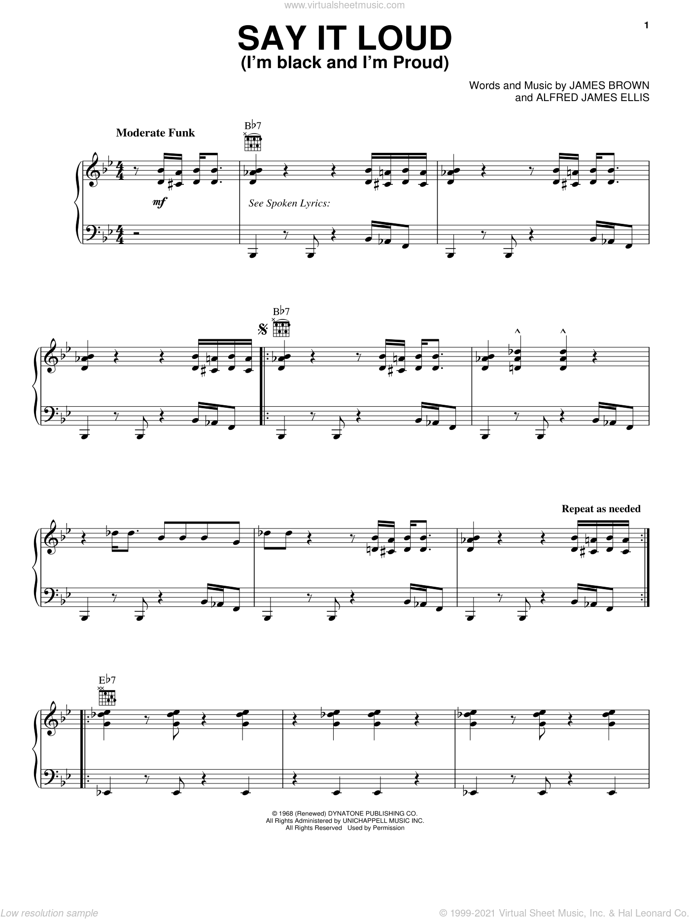 Say It Loud (I'm Black And I'm Proud) sheet music for voice, piano or guitar by James Brown, intermediate skill level