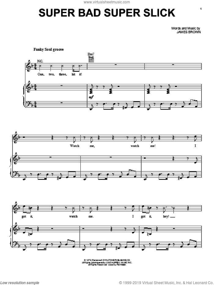 Super Bad Super Slick sheet music for voice, piano or guitar by James Brown, intermediate skill level