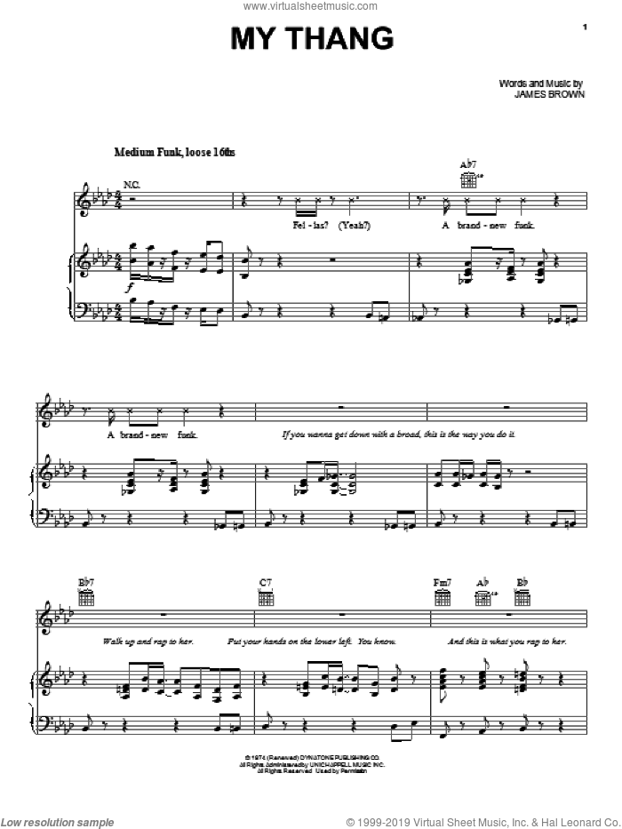 My Thang sheet music for voice, piano or guitar by James Brown. Score Image Preview.