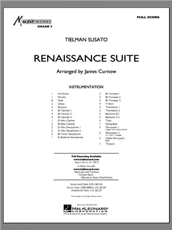 Renaissance Suite sheet music for concert band (full score) by James Curnow
