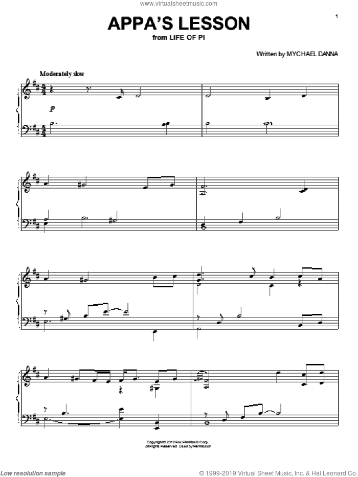Appa's Lesson sheet music for piano solo by Mychael Danna and Life of Pi (Movie), intermediate. Score Image Preview.