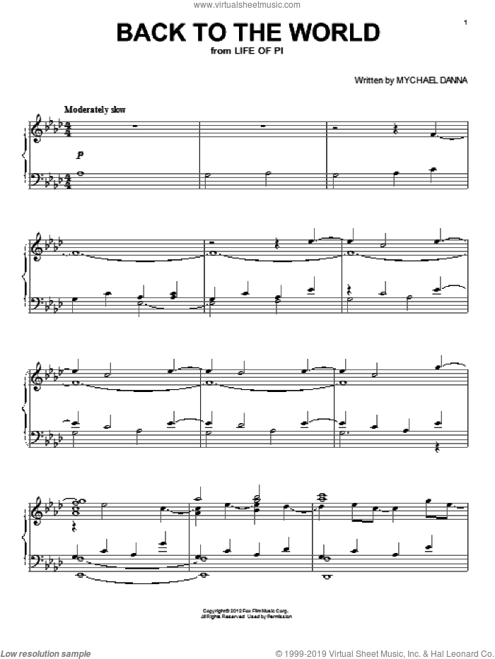 Back To The World sheet music for piano solo by Mychael Danna and Life of Pi (Movie), intermediate skill level
