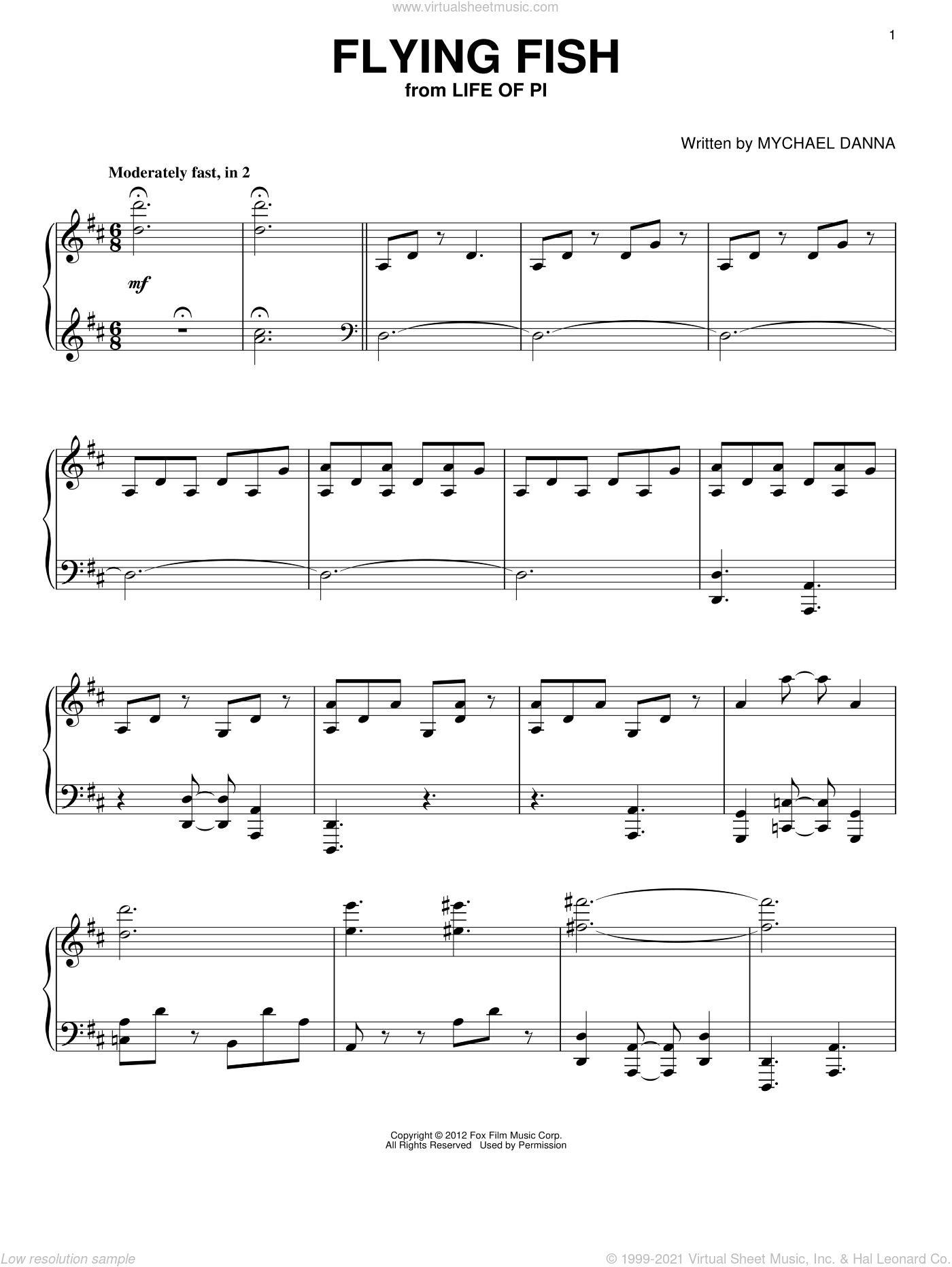 Flying Fish sheet music for piano solo by Mychael Danna, intermediate. Score Image Preview.