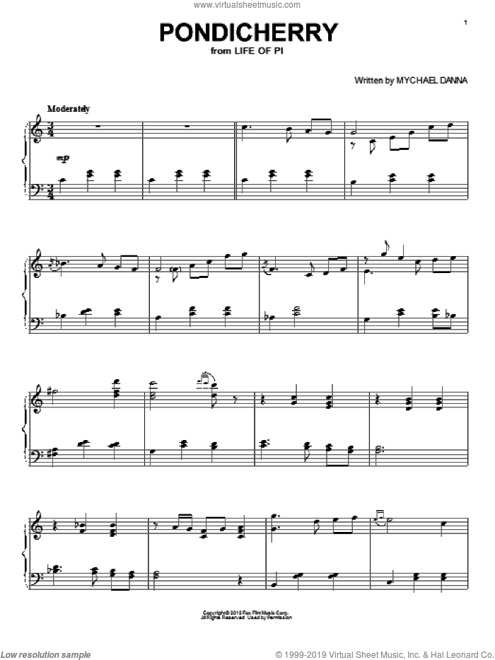 Pondicherry sheet music for piano solo by Mychael Danna. Score Image Preview.