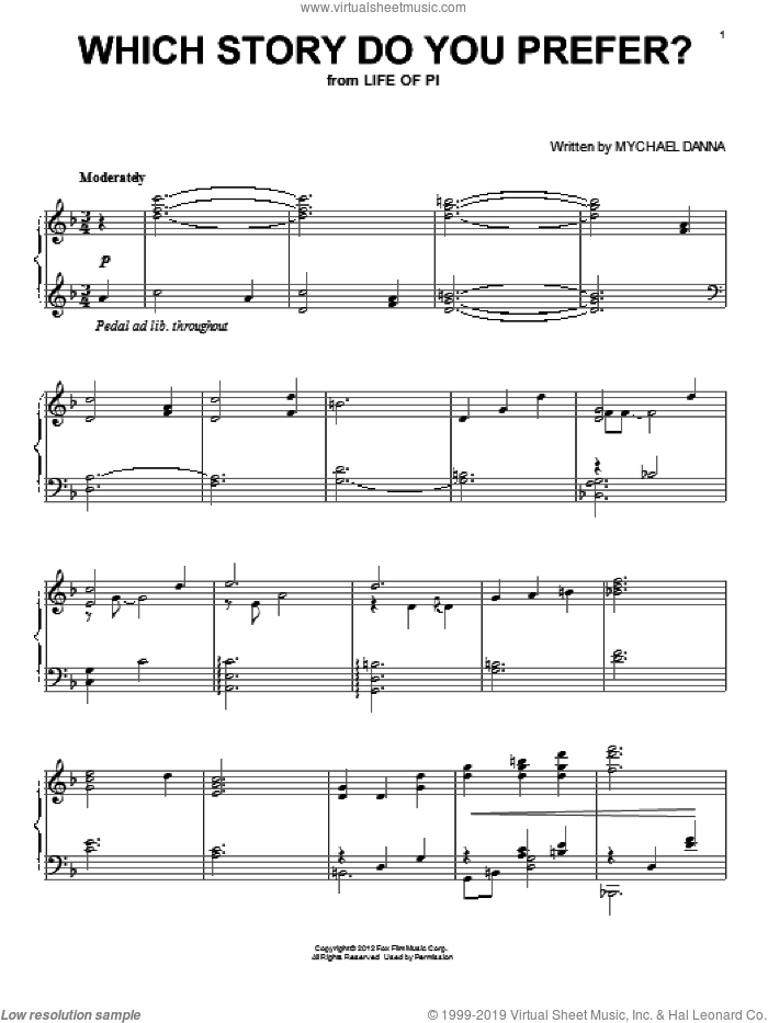Which Story Do You Prefer? sheet music for piano solo by Mychael Danna. Score Image Preview.