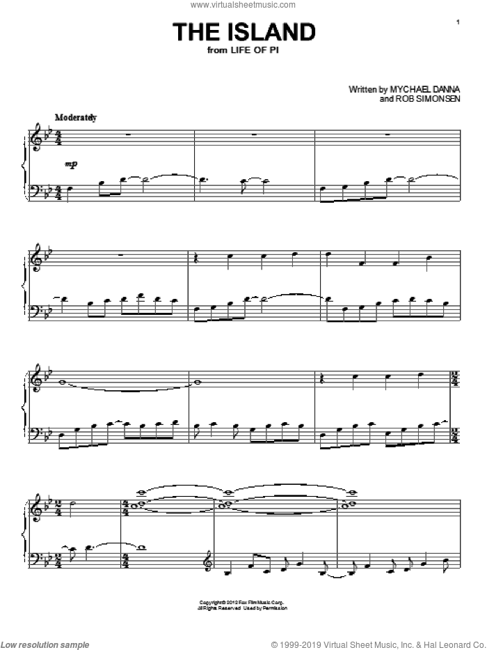 The Island sheet music for piano solo by Rob Simonsen