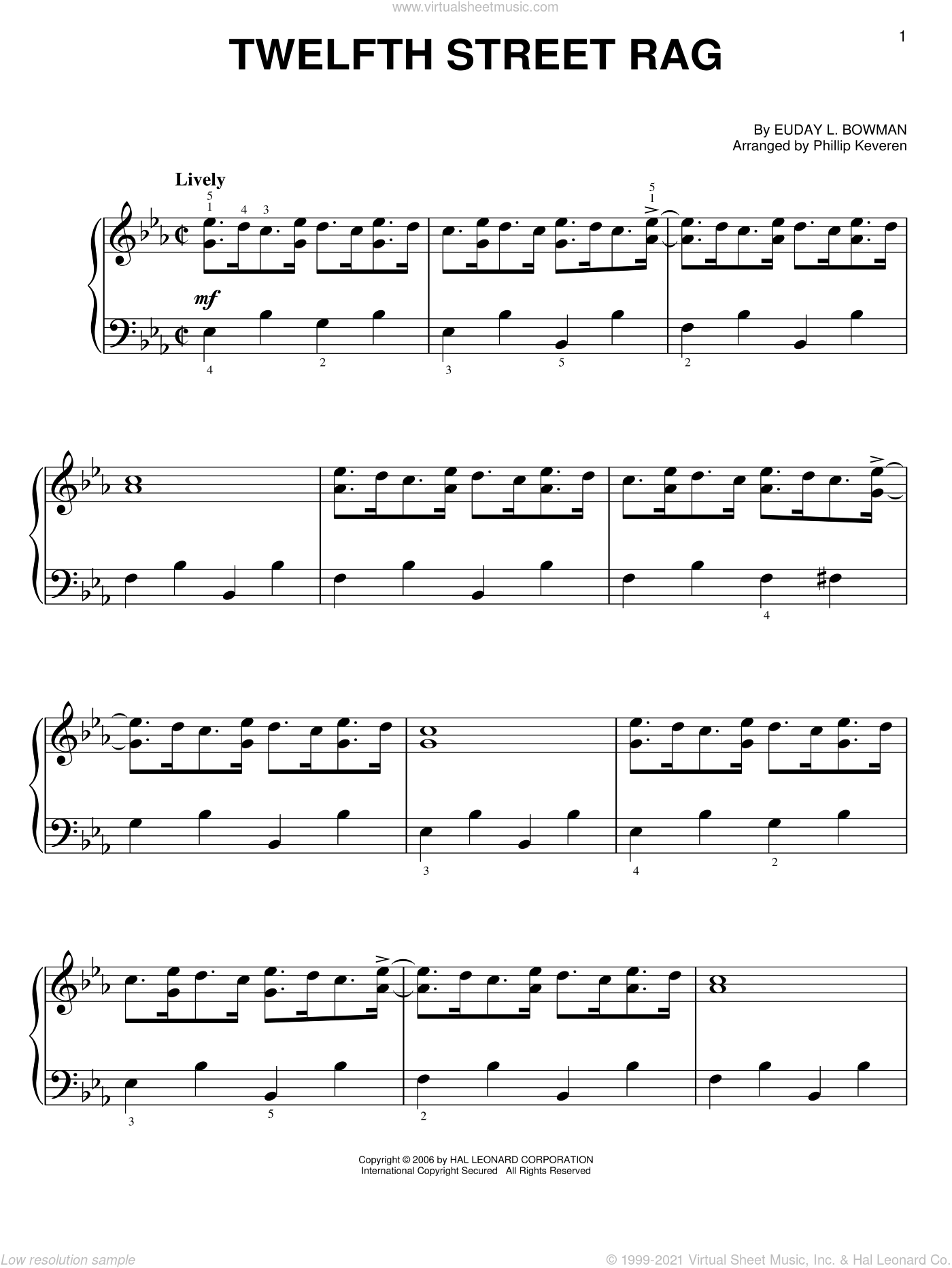Twelfth Street Rag sheet music for piano solo by Euday L. Bowman and Phillip Keveren, easy skill level