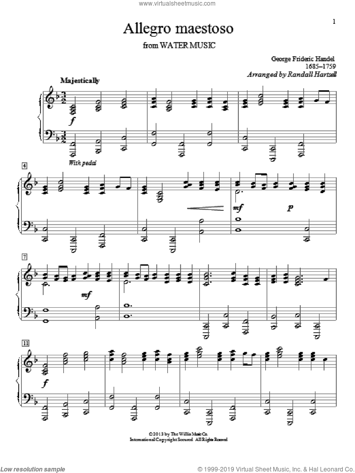 Allegro Maestoso sheet music for piano solo by Randall Hartsell and George Frideric Handel. Score Image Preview.