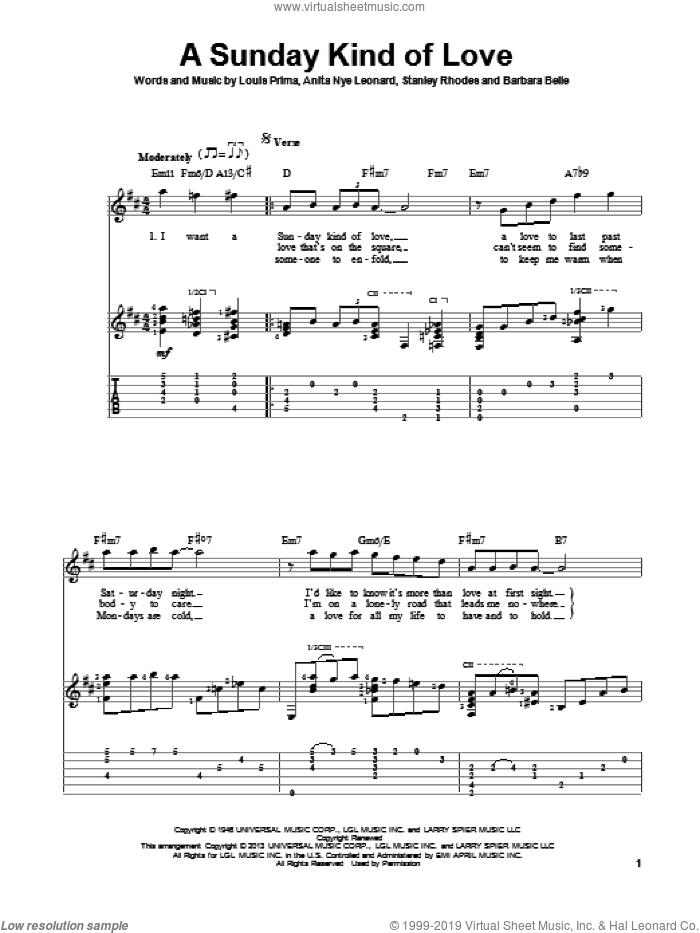 A Sunday Kind Of Love sheet music for guitar solo by Reba McEntire