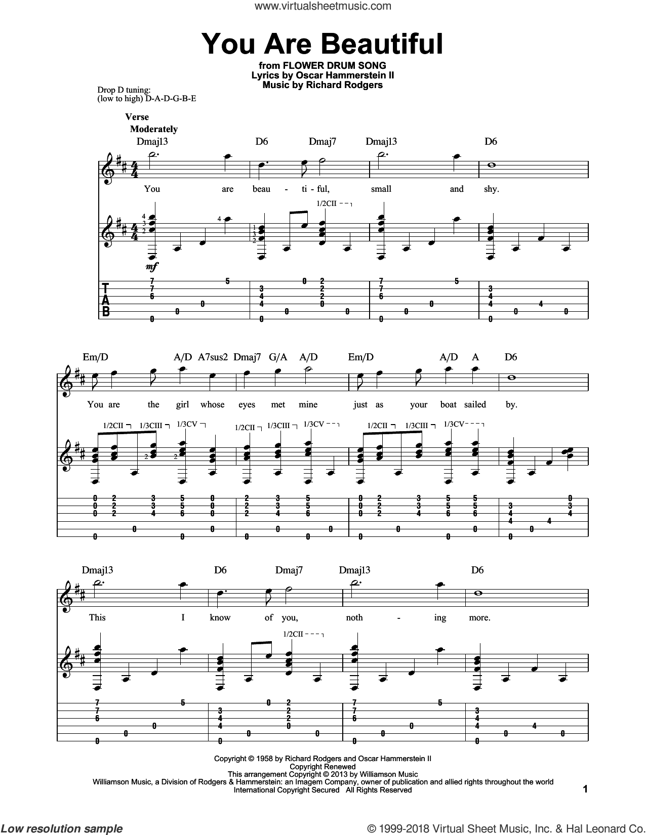 You Are Beautiful sheet music for guitar solo by Rodgers & Hammerstein, Oscar II Hammerstein and Richard Rodgers, intermediate skill level