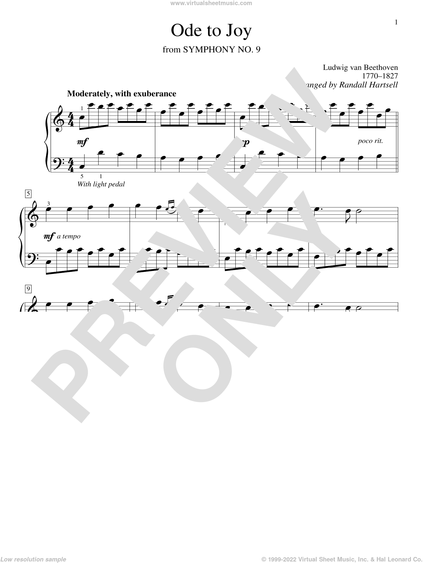 Ode To Joy sheet music for piano solo by Ludwig van Beethoven and Randall Hartsell, wedding score, intermediate skill level