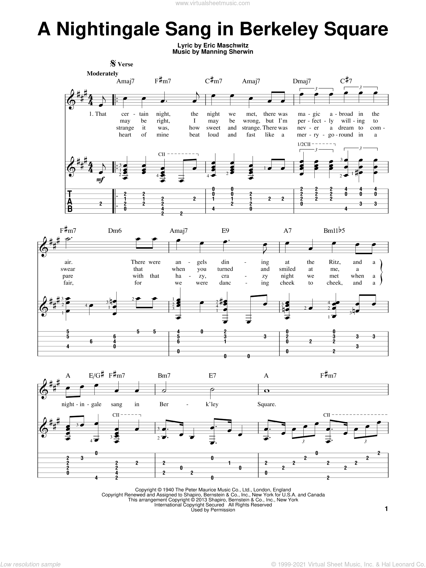 A Nightingale Sang In Berkeley Square sheet music for guitar solo by Manning Sherwin and Manhattan Transfer. Score Image Preview.