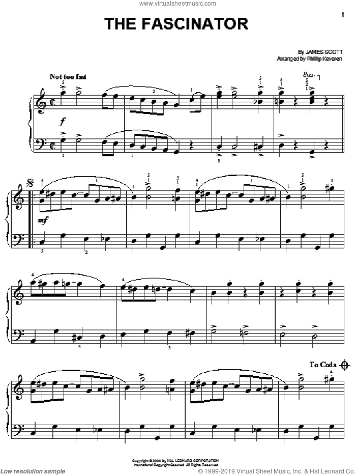 The Fascinator sheet music for piano solo by James Scott and Phillip Keveren, easy skill level
