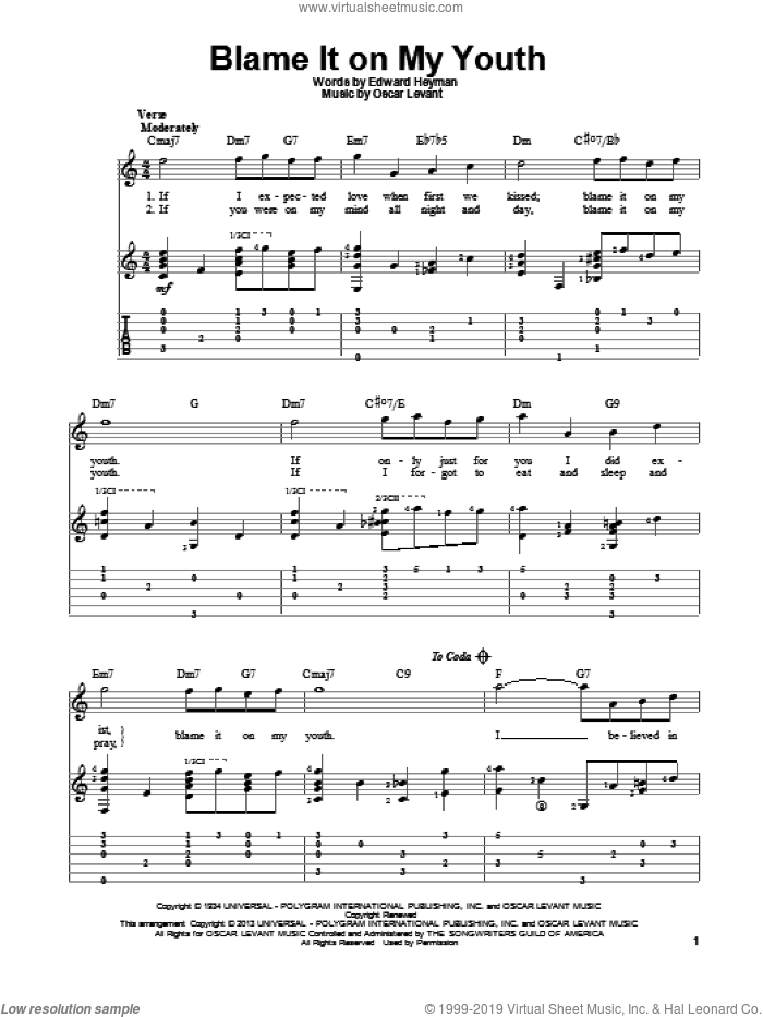 Blame It On My Youth sheet music for guitar solo by Oscar Levant